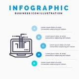 Computer, Network, Laptop, Hardware Blue Infographics Template 5 Steps. Vector Line Icon template royalty free illustration