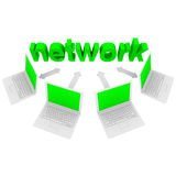 Computer Network - Laptops and Word. The word Network connected to laptop computers by arrows Stock Image
