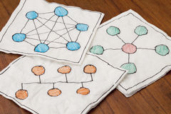 Computer network schematics. Different network schematics sketched on three white napkins placed on a coffee table Stock Photos