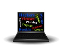 Computer Network Security Risks. A clip art illustration featuring a laptop with words regarding topics of computer and network security - malware, hackers Royalty Free Stock Image