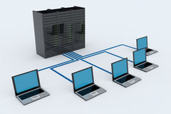 Computer Network with server. On white background. 3D reder image Royalty Free Stock Photo