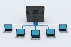 Computer Network with server. On white background. 3D reder image Stock Photo