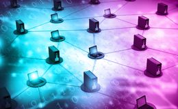 Computer network with server. 3d illustration royalty free stock image