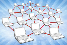 Computer Network Sky Background. Computers connected in huge network. Symbol for internet and social media. Sky background Royalty Free Stock Image