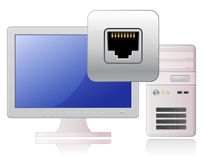 Computer and network socket. Global Communication Concept Stock Image