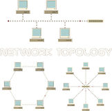 Computer network topology ring, bus, star set Royalty Free Stock Photos
