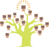 Computer network on a tree Royalty Free Stock Photo