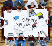 Computer Network Web Sketch Connection Concept Stock Photo
