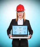 Computer network. Woman engineer holding laptop with computer network Royalty Free Stock Photos