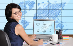 Computer network. Woman sitting in office and computer network on screen Royalty Free Stock Photos