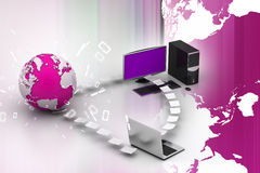Computer networking with globe. In color background Royalty Free Stock Image