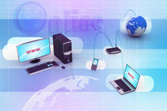 Computer networking with globe Stock Photography