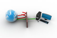Computer networking with globe. In white background Stock Image