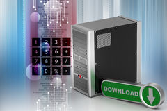 Computer networking server system  with download icon Stock Photo