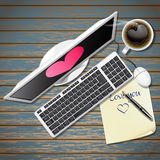 Computer and note paper with black coffee Royalty Free Stock Images