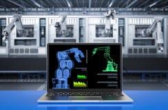 Computer notebook in factory. 3d rendering computer notebook control robot in factory stock photo