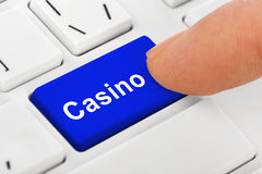 Computer notebook keyboard with Casino key Royalty Free Stock Photos