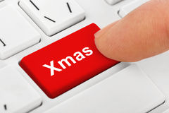 Computer notebook keyboard with Christmas key Royalty Free Stock Photo