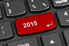 Computer notebook keyboard with 2015 key Royalty Free Stock Images