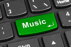 Computer notebook keyboard with Music key. Technology background stock images
