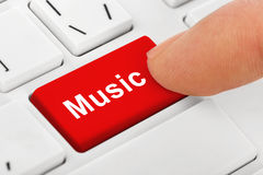 Computer notebook keyboard with Music key. Technology background Stock Photos