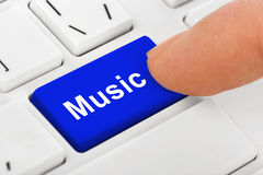 Computer notebook keyboard with Music key. Technology background Royalty Free Stock Photography