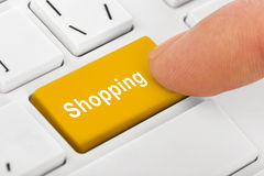 Computer notebook keyboard with Shopping key Stock Image