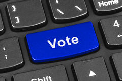 Computer notebook keyboard with Vote key Stock Image