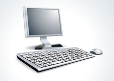 Computer and notebook on the working place Royalty Free Stock Images