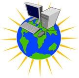 Computer oben auf Welt lizenzfreie abbildung