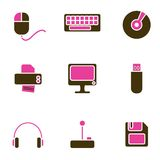 Computer Objects Icon Set Stock Photos