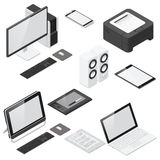 Computer and office devices detailed isometric icon set Royalty Free Stock Photography
