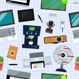 Group computer office equipment. Office electronics digital vector seamless pattern background. Computer office equipment technic gadgets modern workplace Stock Image