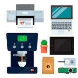 Computer office equipment technic gadgets modern workplace communication device laptop monitor printer keyboard vector. Illustration. Office electronics digital Stock Images