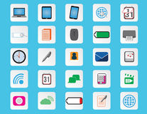 Computer and office flat color icons Stock Photos