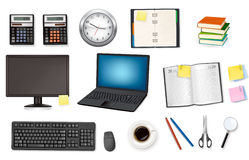 Computer and office supplies. Vector. Royalty Free Stock Photography