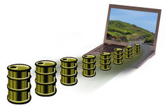 Computer and oil production Royalty Free Stock Images