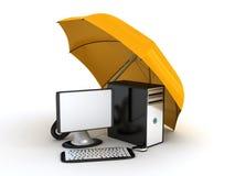 Computer onder paraplu Stock Afbeeldingen