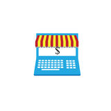 Computer online business. Computer online shop vector design vector illustration