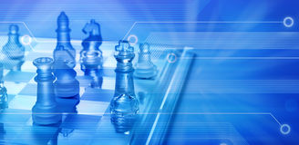 Computer Online Business Strategy Chess. A game of chess overlaid on a computer circuit board background Stock Photography