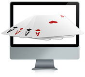 Computer with online card games. Illustration of a computer of new generation with four aces inside stock illustration