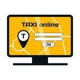 Computer online taxi vector illustration. Stock Photos