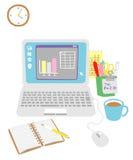Computer op het bureau royalty-vrije illustratie