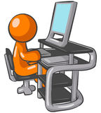Computer Operator. An illustrated background of an orange computer operator, isolated on a white background Stock Photo