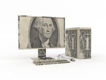 Computer origami made from dollar bills Royalty Free Stock Image