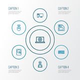 Computer Outline Icons Set. Collection Of Hard Disk, Keypad, Web And Other Elements. Also Includes Symbols Such As Royalty Free Stock Image
