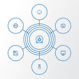 Computer Outline Icons Set. Collection Of Peripheral, Printer, Floppy And Other Elements. Also Includes Symbols Such As. Computer Outline Icons Set. Collection Royalty Free Stock Image