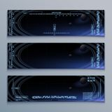 Computer panel banners. Futuristic vector computer background for space video game eps 10 stock illustration