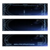 Computer panel banners. Set of futuristic vector computer backgrounds for space video game eps 10 Stock Photos
