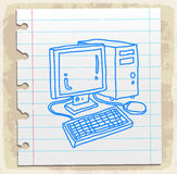 Computer on paper note, vector illustration Royalty Free Stock Photography